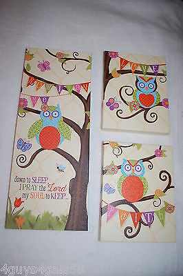 Nursery Decor 3 PC CANVAS WALL SIGNS Owls Trees NOW I LAY ME DOWN TO SLEEP...