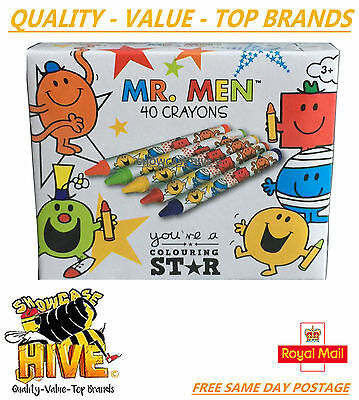 Mr Men 40 Wax Crayons Kids Toys Crafts Drawing Coloring Set Assorted Colours