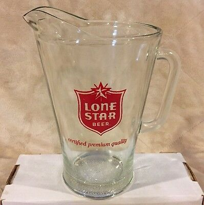VTG Lone Star Beer Red Logo Heavy Glass Pitcher Texas Cup Mug Stein Tankard Ale