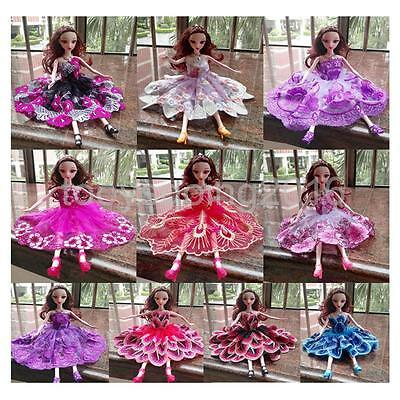 10x Strapless Embroidered Party Clothes Fashion Dress Gown for Barbie Dolls