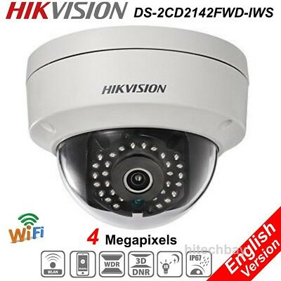 Hikvision DS-2CD2142FWD-IWS 4MP IP Security Camera POE WiFi Audio IR WDR Onvif