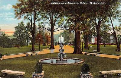 Gaffney South Carolina Limestone College Fountain Vintage Postcard K62805