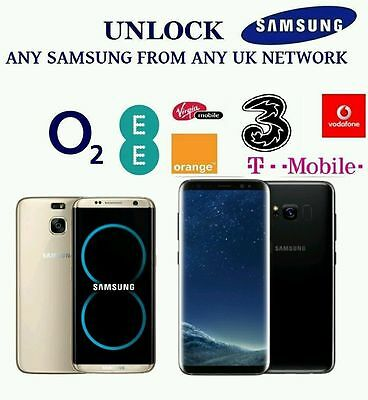 Unlock Code For Samsung Galaxy S8+ S8 S7 Edge S7 Plus ee O2 Vodafone UK network