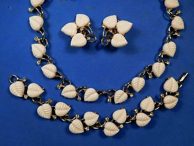 Vintage MCM BRIDAL WHITE CLAUDETTE Lucite Leaf RS Necklace Bracelet Earring SET