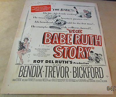 Movie Ad---THE BABE RUTH STORY---<1948>---WILLIAM BENDIX
