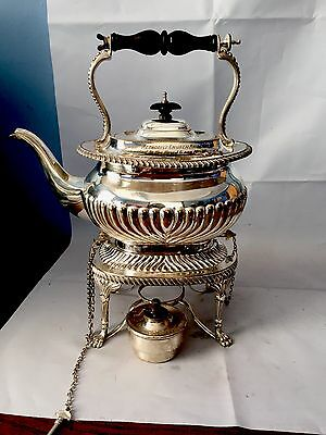 A lovely  silver plated spirit kettle Half Fluted Large.