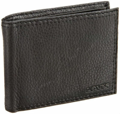 New Men's Levi's Leather Credit Card Id Wallet Bifold 31lv1344 Black