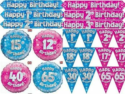 Holographic Pink Blue Birthday Party Decorations Foil Banner Balloon Bunting