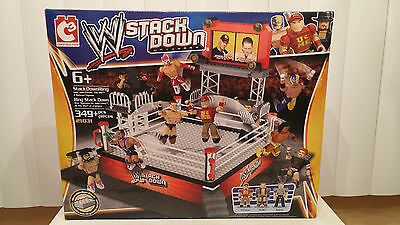 WWE Stack Down Universe - 349 PIECE PLAY SET #21031 RING W/3 FIGURES (2013) LEGO