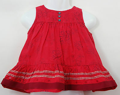Baby Girls M&S Autograph Red Floral Embroidered Tunic Smock Top Age 12-18 Months