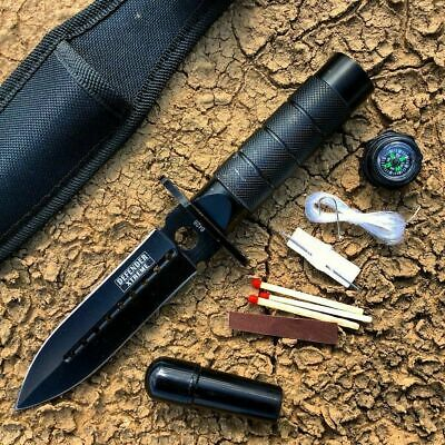 """NEW Defender 8"""" Black Survival Knife With Fire Starter and compass kit"""