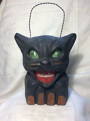 Halloween Paper Mache  Black Cat on a Fence Lantern  L1
