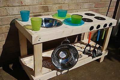 Mud kitchen for outdoor play. with cooker hob