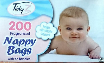 200 PK Tidy Z Nappy Bags Fragranced Scented Baby Changing Disposable Tie Handle