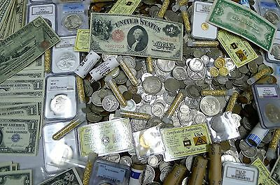 Gigantic 110+ Coin Estate Lot! Ngc,pcgs,gold,silver,currency,rolls,antique,more!