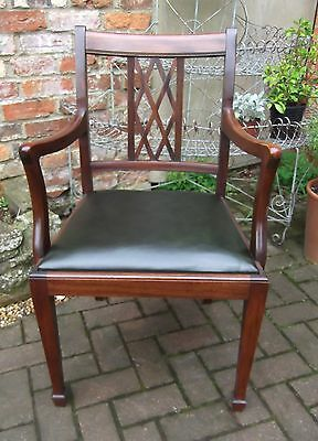 Chippendale Style Mahogany Elbow Chair~Desk~Library~Carver~New Dk Green Leather