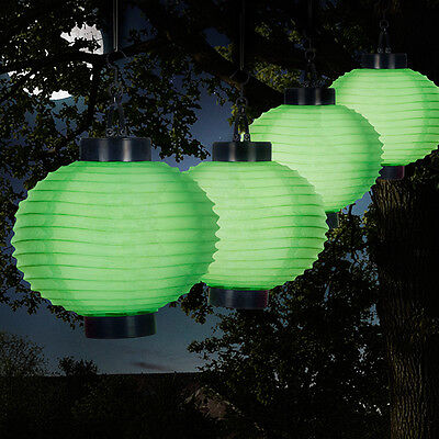 Solar Powered Chinese Accordian Paper Lanterns Outdoor Lights Patio Deck Green