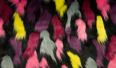 Super Luxury Faux Fur Fabric Material - HILO BLACK PINK RED YELLOW GREY