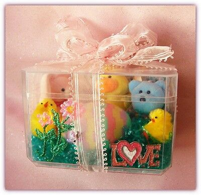 Handpainted Gift Box w/ 3 Ty Basket Beanies +Egg & Chicks +Notepad+Magnet