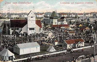 Munich Germany Oktoberfest Lowenbrau Gruss Aus Antique Postcard J66400