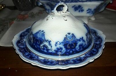 Johnson Brothers Flow Blue - The Blue Danube Pattern  Butter dish with Lid