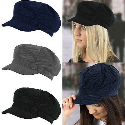 Ladies Womens Girls Cord Rib Baker Boy Newsboy Peaked Cap Hat Quilted Lining