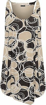 Womens Plus Size Scoop Neck Printed Strappy Sleeveless Lined Vest Top 14-28