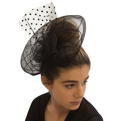 Ladies Womens Black Mesh Hair Clip Fascinator Feather Veil Wedding Occasion Hat