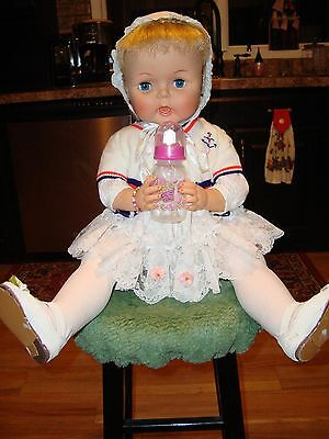 VTG 1964 THIRSTY DOLL, 27 inches tall