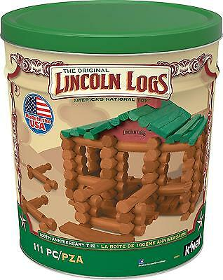 Lincoln Logs 100th Anniversary Tin 111 All Wood Piece Construction Education Toy