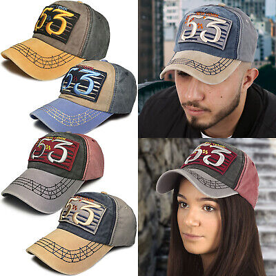 Mens Ladies Peaked Baseball Cap Caps Print Embroidered Sports Snapback Sun Hat