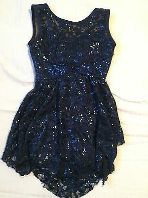 navy lace and sequin figure skating dress girls sz 14 ladies XS
