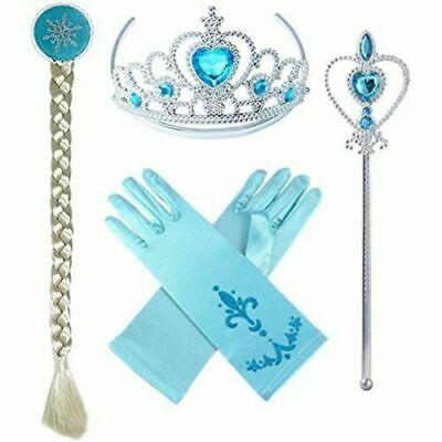 kids Girls children Frozen Anna Elsa 4 Pcs Set Crown Wig Wand Gloves Tiara Party