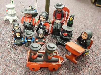 Vintage Cast Iron Metal  Figures Amish Family, Chairs, Child on Swing ETc