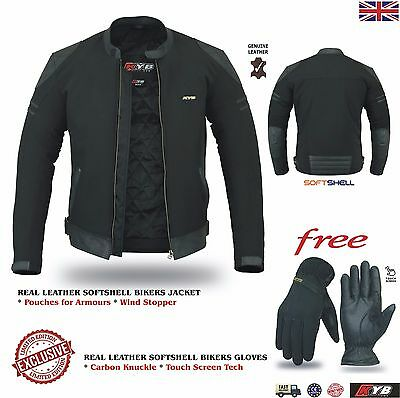 Mens Leather Motorcycle Motorbike Jacket Gloves Softshell Touring Bikers Jackets