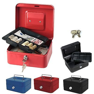 Steel Metal Petty Cash Box with Coin Tray Money Bank Safe Security Deposit Keys