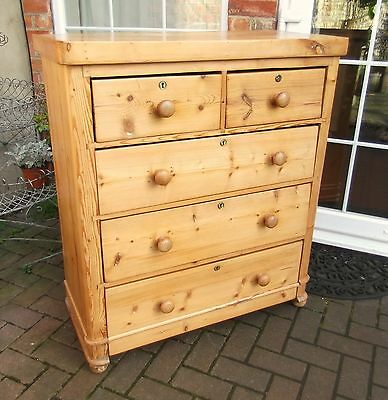Rustic Country Victorian Pine Chest Of Drawers~Two Over Three Drawers~Bun Feet