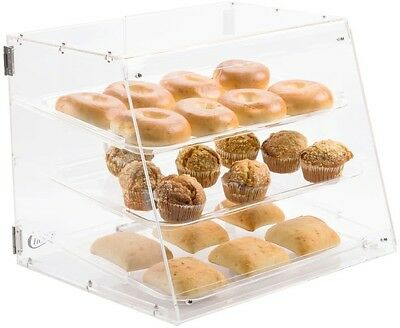 3 Tier Tray Bakery Display Case w/ Rear Doors Cakes Pastry Cupcakes Donut Muffin