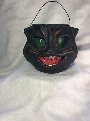 Halloween Paper Mache  Black Cat  Lantern