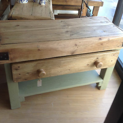 shabby chic rustic industrial  butchers block / kitchen island reclaimed  timber