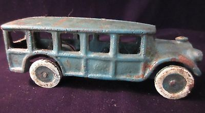 EARLY VINTAGE 1930s GREEN CAST IRON TOY BUS
