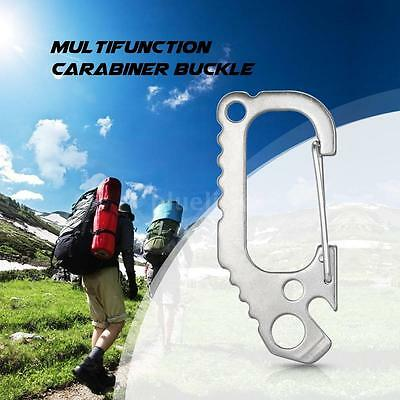 Stainless Steel Carabiner D Shape Buckle Keychain Clip Spring Snap Hook W6U1