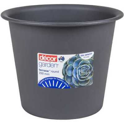 NEW Decor Terrace Round Plant Pot 250mm Pewter