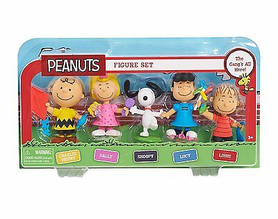 PEANUTS - Pack of 5 Mini Figures - Linus + Charlie Brown + Snoopy + Lucy + Sally