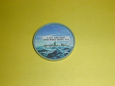 """Warship Coin #2 U.S.S. """"Long Beach"""" Guided Missle Cruiser USA  - Schulers Chips"""