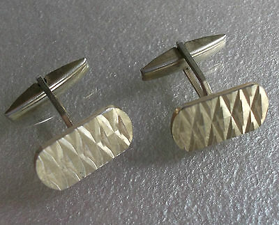 Vintage Cufflinks Metal 1960's 1970's Retro Mod Pale Goldtone Embossed Metal