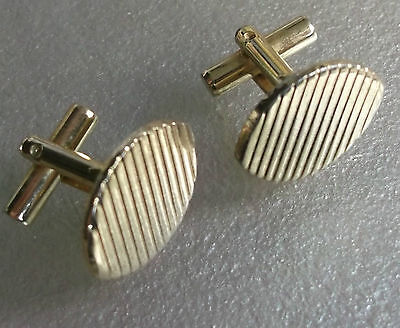 Vintage Cufflinks Metal Mens 1960's 1970's Mod Pale Goldtone Oval Cut Metal