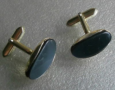 Vintage Cufflinks Metal 1960's 1970's Mod Goldtone Pearly Grey Inset Feature