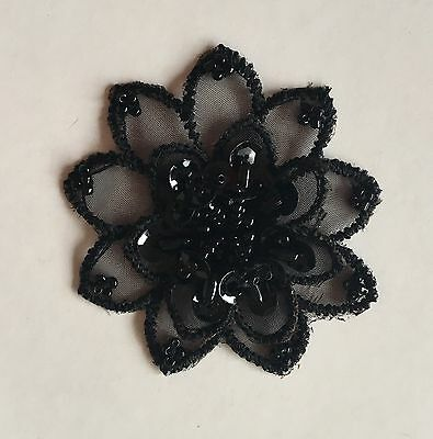 Sew On Fabric Lace Flower Motif Applique Bead & Sequin Black 3D Haberdashery