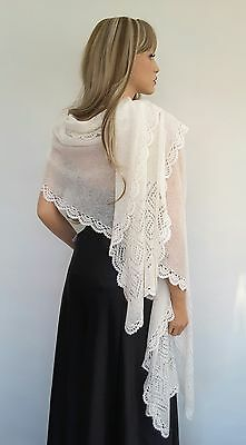 Hand Knitted Mohair White or Ivory Colour Bridal Wedding, Occasion Shawl - Wrap